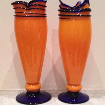Kralik threaded tango pair - Art Glass