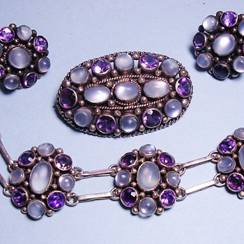Antique Deco Moonstone Amethyst Bracelet Earring Brooch Sterling Parure - Fine Jewelry