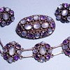 Antique Deco Moonstone Amethyst Bracelet Earring Brooch Sterling Parure
