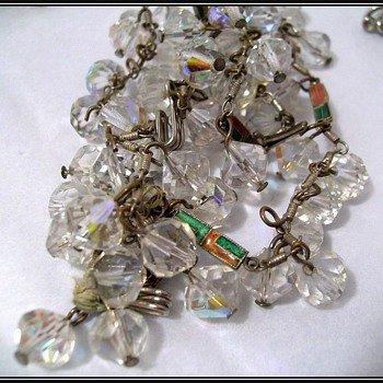 UNKNOWN - Crystal Necklace ( with enamel pieces ) - Costume Jewelry