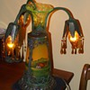 3-REVERSE  PAINTED ANTIQUE GLASS LAMP UNKNOWN MFG. OR DATE