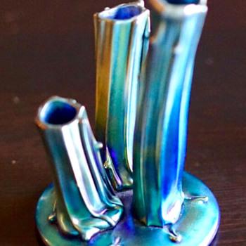 Signed Blue Steuben Aurene Rustic Stump #2744 - Art Glass