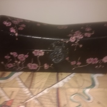 Chinese Lacquer Ware Decorated Pillow Box, with handpainted flowers, lockable bedroom accessory - Furniture