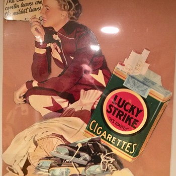 Late 1920s cardboard Lucky Strike easelback sign - Signs