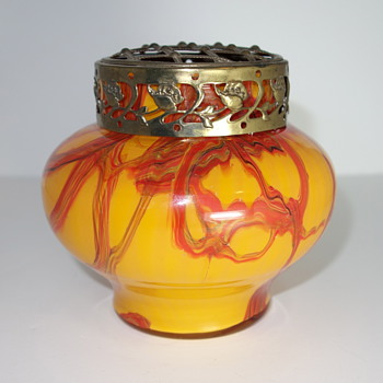 Czech Glass furnace decorated vase with flower frog, 1930s - Art Glass