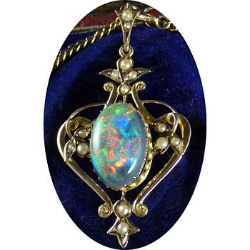 An Early Australian Lightning Ridge Solid Black Opal, in an Art Nouveau Pendant, by William Kerr - Fine Jewelry