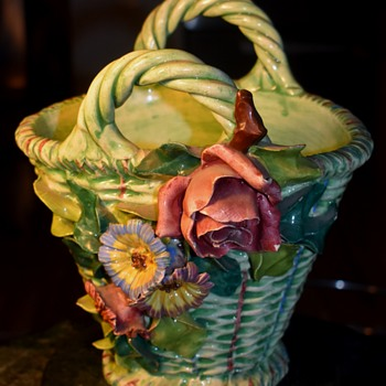 Italian Pottery Basket with Applied Flowers - Pottery
