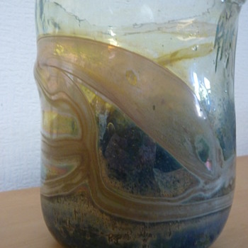 OVAL GLASS VASE...looks similar to early Isle of Wight Studio - Art Glass