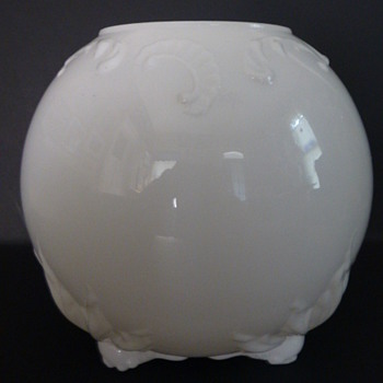 Blown milk glass globe vase - Glassware
