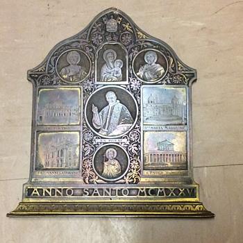 C1920 bronze wall plaque Italian religious pope/saints/churches  - Art Deco