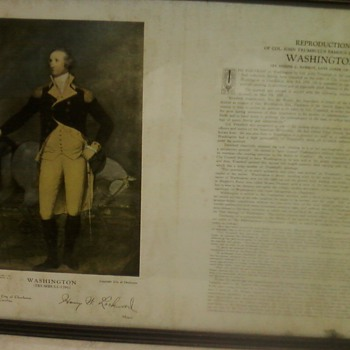 VINTAGE FRAMED PRINT OF WASHINGTON - Paper