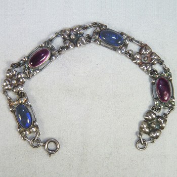 A Silver, Enamel, and Black Opal Bracelet by Elsie Reeve - Fine Jewelry