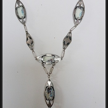Arts & Crafts silver and blister pearl necklace/pendant - Arts and Crafts