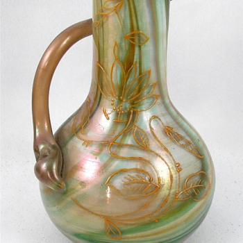 "Rindskopf Enamel Serpent Handle Spiral Iridescent Vase 8.25"" - Art Glass"