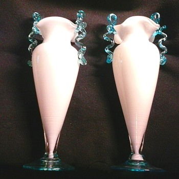 "Pair of 9"" Ruffle Top Trophy Vases/White Cased Glass With Applied Blue Handles/Unknown Maker/Circa 20th Century  - Art Glass"