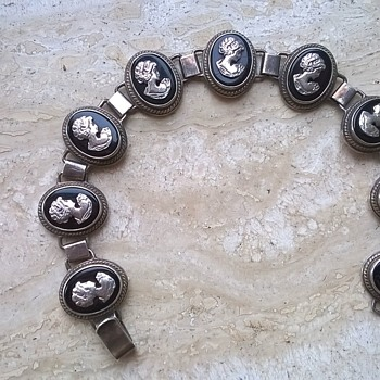 Sterling Silver/Onyx or Jet Cameo Bracelet - Anyone Recognize The Silver Marks?