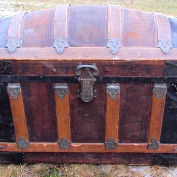 1890's  Leather 4 slat Barrel top Trunk - Furniture