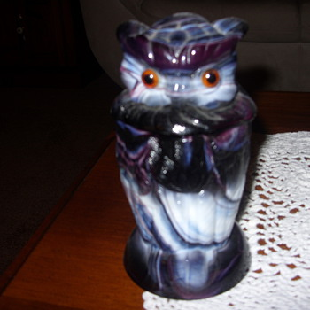 imperial slag glass owl container