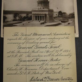Grant's Tomb, Ground Breaking Invite