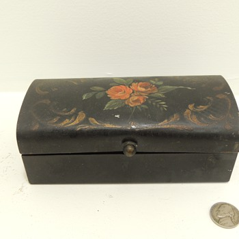 Pre 1900 Tin Box with Hand Painted Roses