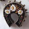 Antique Micro Mosaic horseshoe flower brooch