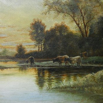"Painting on Board by R.J.Galbraith ""The Meadow Brook Evening""1909 - Fine Art"