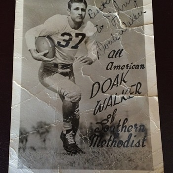 Doak Walker All American RPPC Autographed while in College - Football