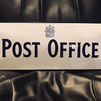 Antique Porcelain Post Office Sign - Office