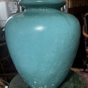 Arts and Crafts Turquoise Vase with damage - Pottery