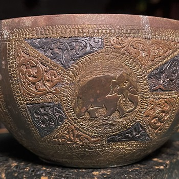 Mixed Metal Bowl with Elephants - Asian