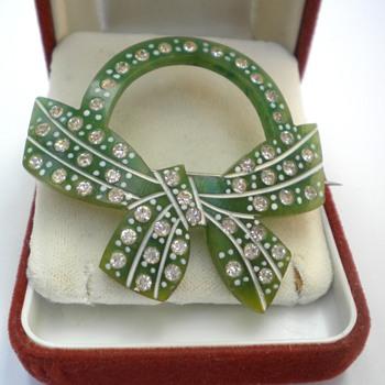 Pretty Old Plastic Rhinestone Brooch - Costume Jewelry
