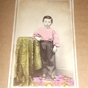 Civil War era tinted CDV of boy - Photographs