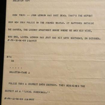 John Lennon news bulletin-1980... - Music Memorabilia