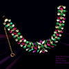 Extremely Rare Sherman Bracelet With Opague Jade Rhinestones & Clear and Fuschia Stones.