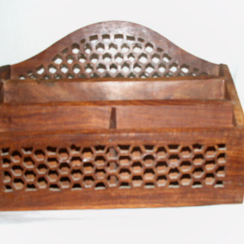 Antique Rosewood Honeycomb Letter Holder - Office