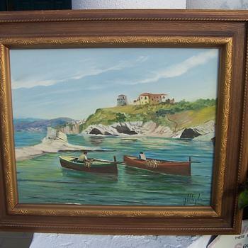 Vintage Coastal Scene Painting - Fine Art