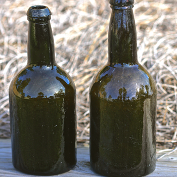 1850's Black Glass Beer Bottles - Bottles