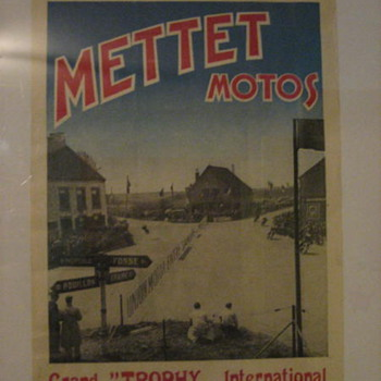 1952 European METTETMOTOS Motorcycle Race Poster