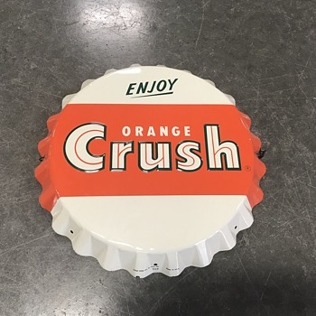 Bottle cap soda signs Pepsi and Orange Crush - Signs