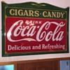1930s COCA COLA CIGARS & CANDY PORCELAIN SIGN