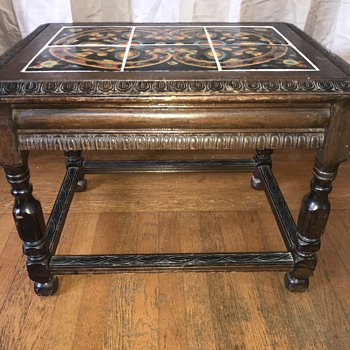 6 tile top wood carved side table  - Furniture