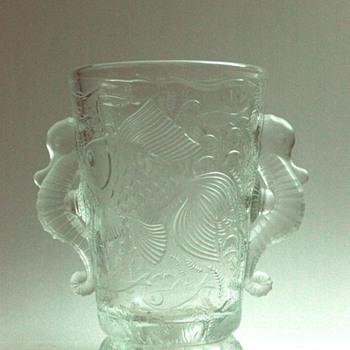 "nice  bohemian art deco  ""sea horses "" vase  by JOSEF INWALD for BAROLAC - Art Deco"