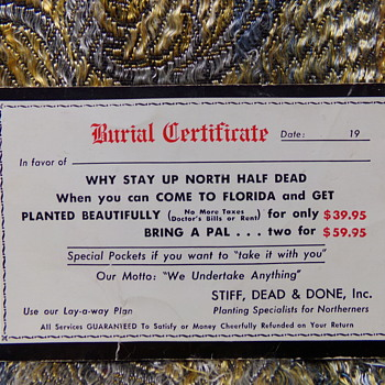 Get Planted Beautifully!!  Burial Certificate  - Postcards