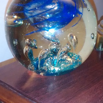 Unsigned bubble glass paperweight,  5'' dia.