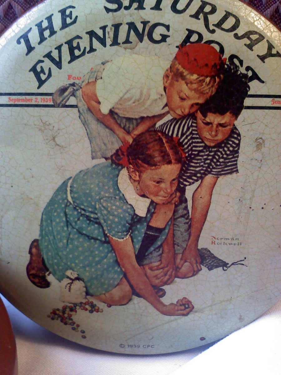 Vintage Rockwell 1939 Picture on Tin Saturday Evening Post Illustrations by Normal Rockwell Collector/'s Series 1 Made in England.