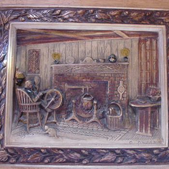 """Antique Picture~Entitled """"Peaceful Hours"""" - Pottery"""