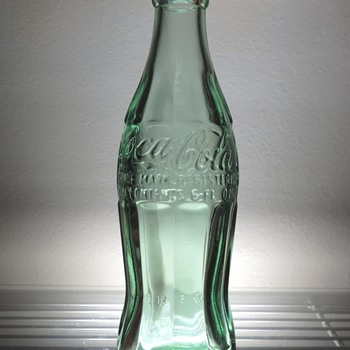 1989 Coca Cola Coke Bottle Lynchburg Virginia Christmas Patent Anchor Glass Embossed Aqua 6 Ounces Repro Replica - Bottles