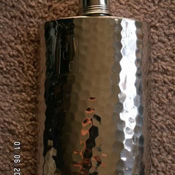 Vintage Hammered Tin-Lined Flask ~ West Germany