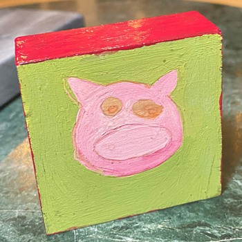 Funny little pig painting - Folk Art
