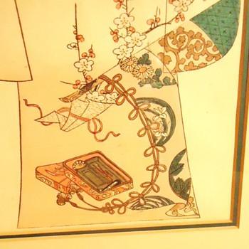 1886 woodblock print, Tanjiro Nakojima Kimono Pattern - Asian